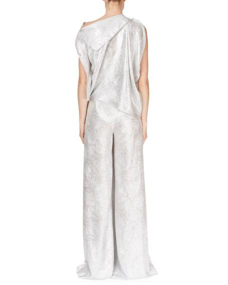 Ebsen Drape-Top Full-Leg Metallic Jumpsuit