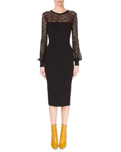 Long-Sleeve Chevron-Lace Fitted Midi Dress