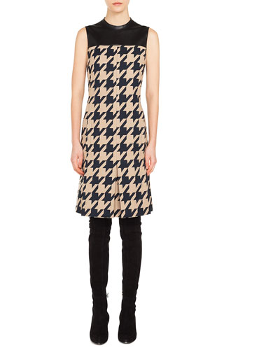 High-Neck Sleeveless Houndstooth-Jacquard A-Line Dress w/ Leather