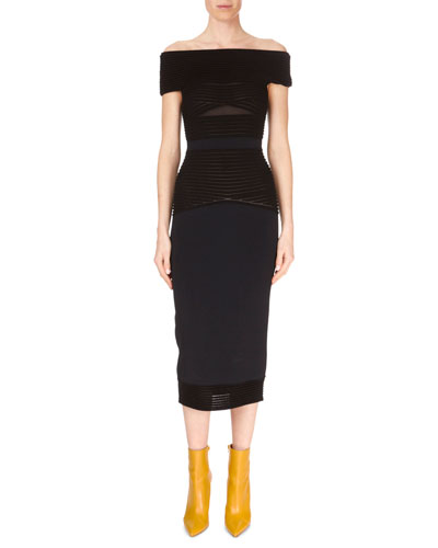 Hanbury Off-the-Shoulder Wide Ribbed Knit Midi Dress