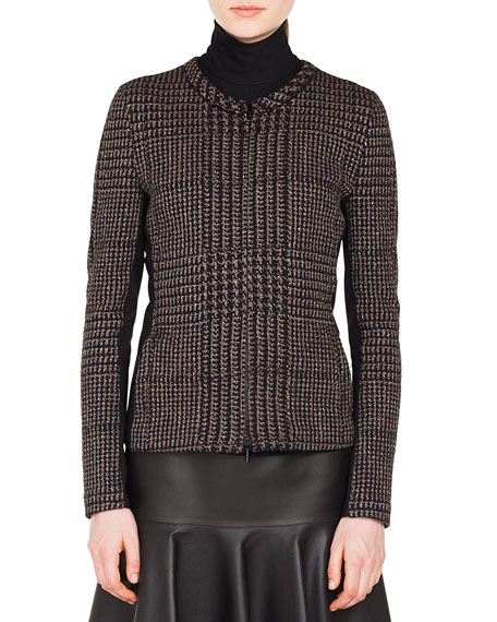 Akris punto Zip-Front Metallic Jacquard Houndstooth Jacket and
