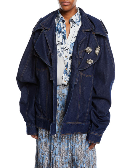 Its All Good Double-Collar Oversized Denim Jacket