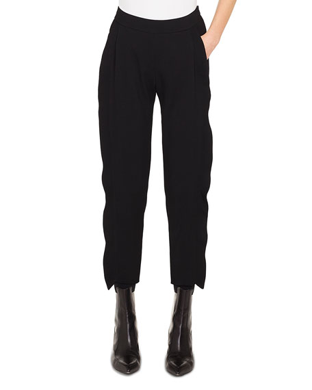 Akris punto Straight-Leg Cropped Tricotine Wool Pants w/