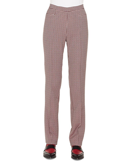 Akris punto Francoise Straight-Leg Side-Zip Houndstooth Jersey