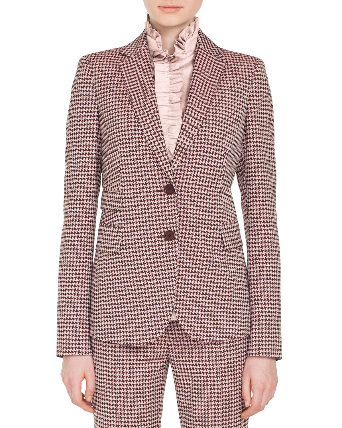 Two Button Houndstooth Jersey Blazer by Akris Punto
