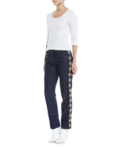 Straight-Leg Boyfriend Jeans w/ Removable Side Tux Strass Crystals