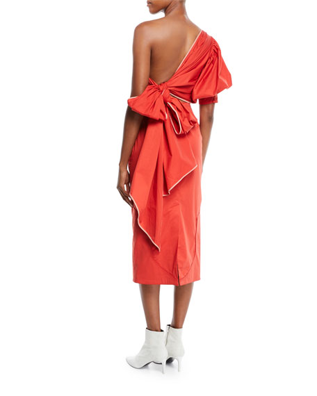 One-Shoulder Pouf-Sleeve Fitted Tie-Back Midi Dress w/ Western Seaming