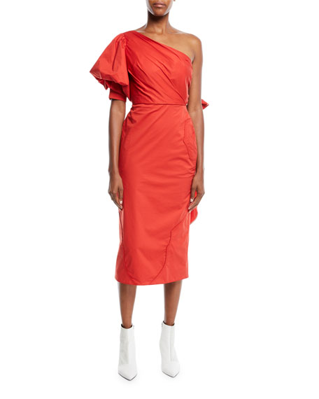 JOHANNA ORTIZ One-Shoulder Pouf-Sleeve Fitted Tie-Back Midi Dress W/ Western Seaming in Red