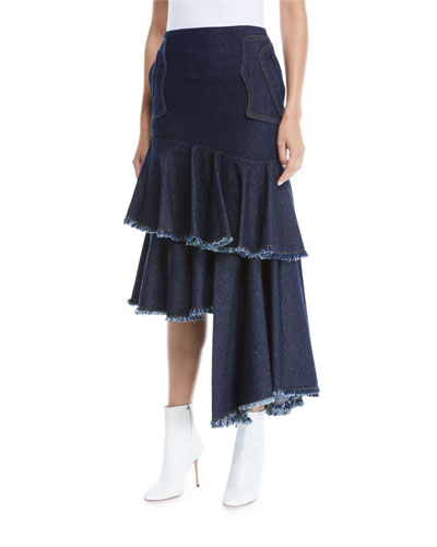 Urban Legend High-Waist Asymmetric Denim Skirt w/ Cutoff Tiers