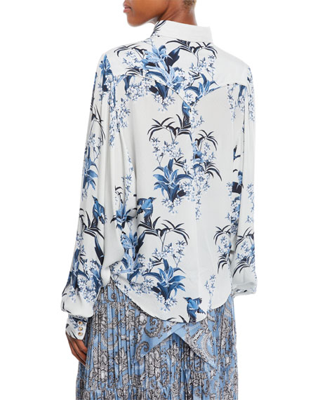 Azelea B Button-Front Long-Sleeve Azalea-Print Silk Shirt
