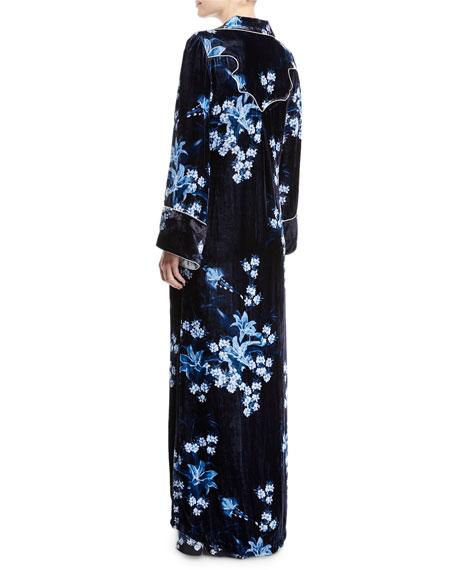 New Sunrise Floral-Print Velvet Kimono Coat w/ Side Tie