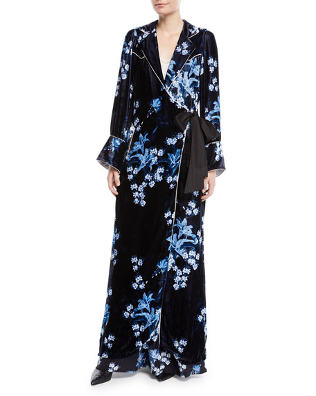 New Sunrise Floral-Print Velvet Kimono Coat W/ Side Tie in Navy