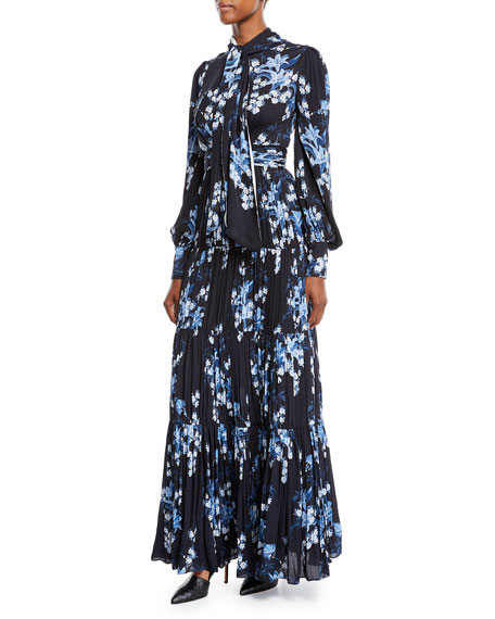 Poetic Justice Tie-Neck Long-Sleeve Open-Back Floral-Print Pleated Silk Gown
