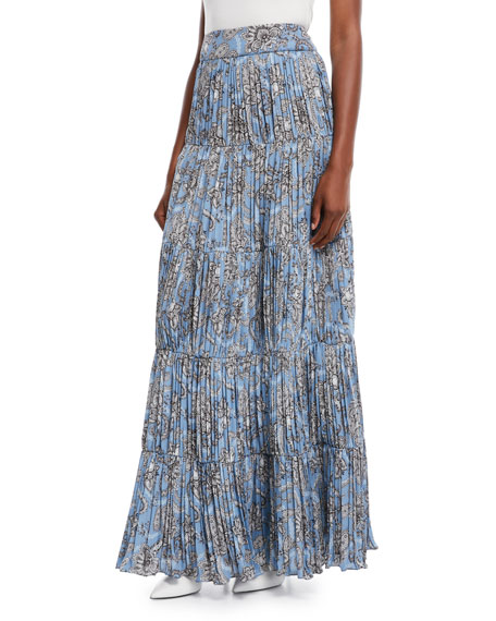Spiritual Activist Paisley-Print Plisse Long Boho Skirt