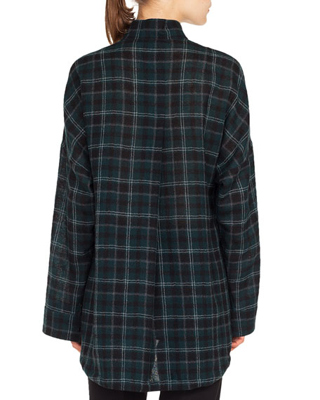 Button-Front Long-Sleeve Brit-Check Wool Blouse