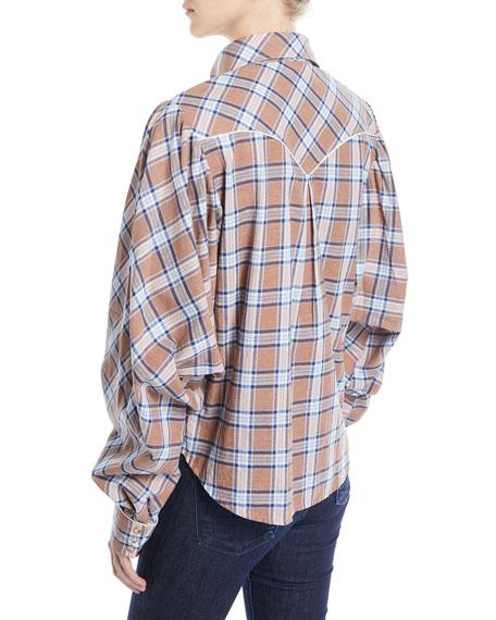 Dance of the Deer Bubble-Sleeve Tartan Shirt w/ Western Piping