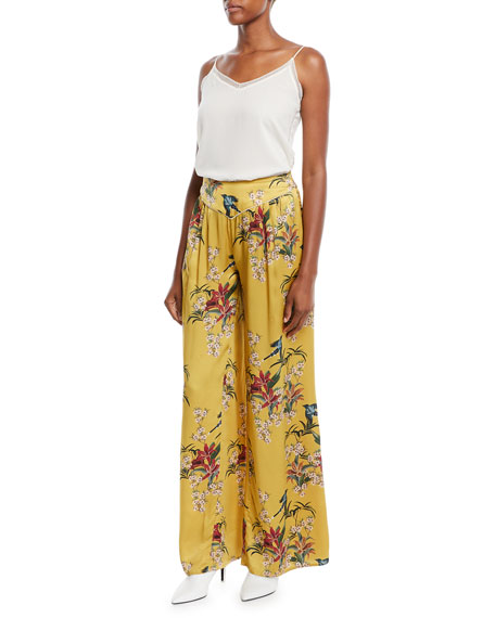 Specialist Of The Beyond High-Waist Wide-Leg Floral-Print Silk Satin Pajama Trouser