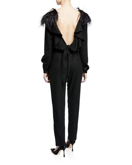 Feel Me Ruffle-Neck Open V-Back Long-Sleeve Skinny Wool Jumpsuit