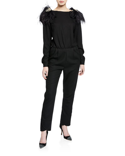 Feel Me Ruffle-Neck Open V-Back Long-Sleeve Skinny Wool Jumpsuit