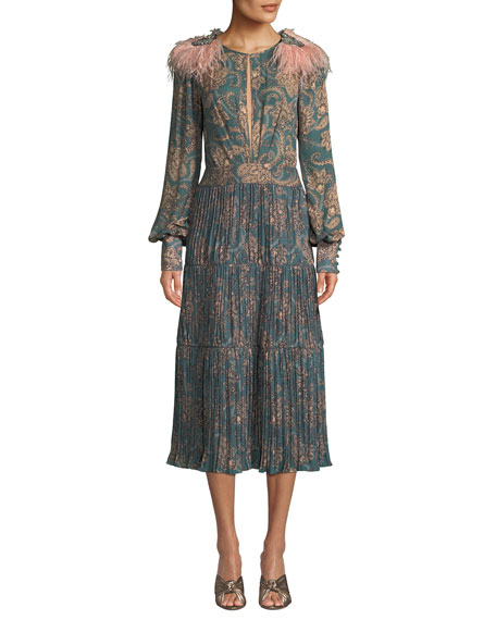 Hechiceria Long-Sleeve Keyhole-Front Paisley-Print Pleated Silk Dress w/ Tie Back