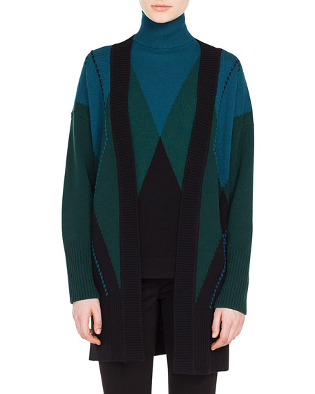 Akris punto Open-Front Argyle Wool-Cashmere Cardigan