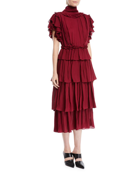 Johanna Ortiz Chants Tiered Ruffle Georgette Dress