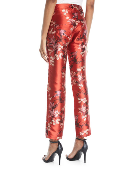 Corajuda Floral-Print Straight-Leg Cropped Trousers