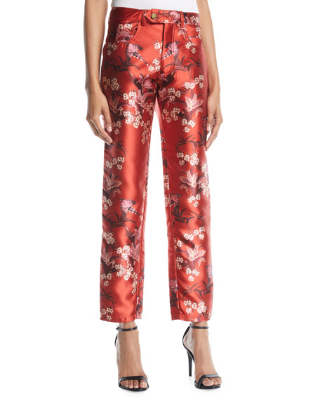 JOHANNA ORTIZ Corajuda Floral-Print Straight-Leg Cropped Trousers in Red