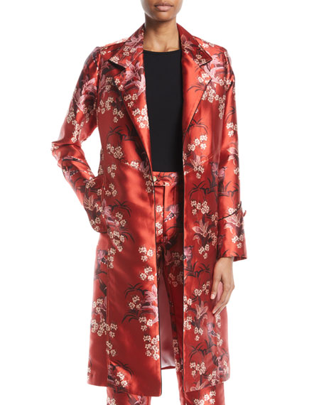 As If Notched-Collar Renaissance Victorian Floral-Print Mid-Length Coat
