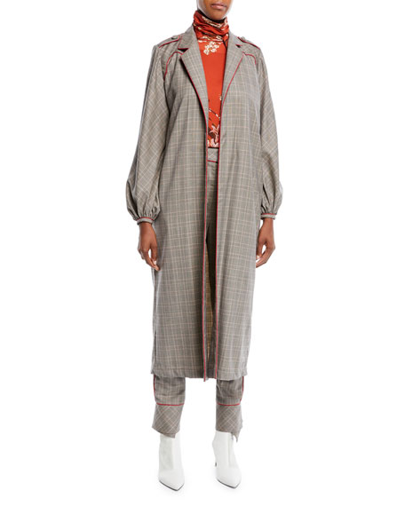 Ser Garnel Open-Front Plaid Suiting Western-Seam Kimono Coat