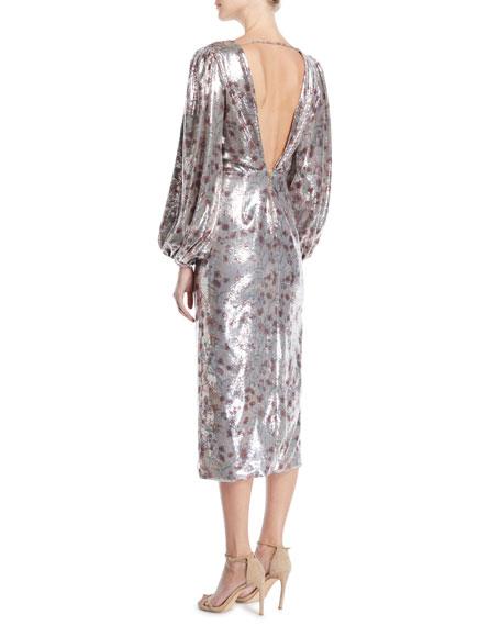 Alfonsina V-Neck Long-Sleeve Floral-Print Sequin Cocktail Dress w/ Slit