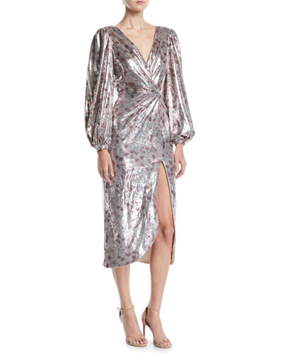Alfonsina V-Neck Long-Sleeve Floral-Print Sequin Cocktail Dress w/ Slit