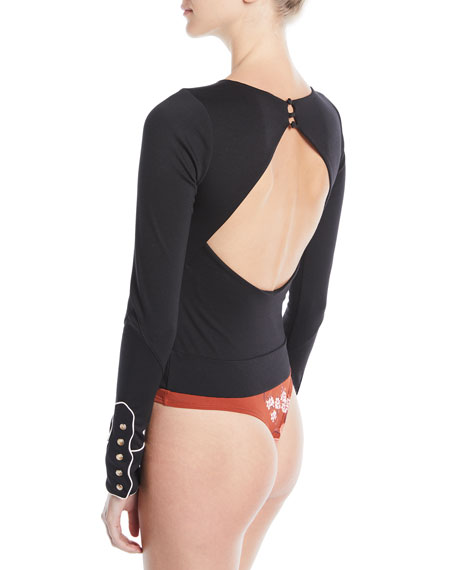 Crewneck Long-Sleeve Bodysuit w/ Western Piping