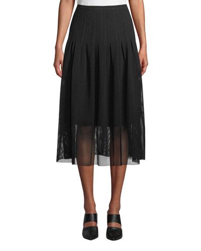 Partial-Lined Mesh Godet Midi Skirt