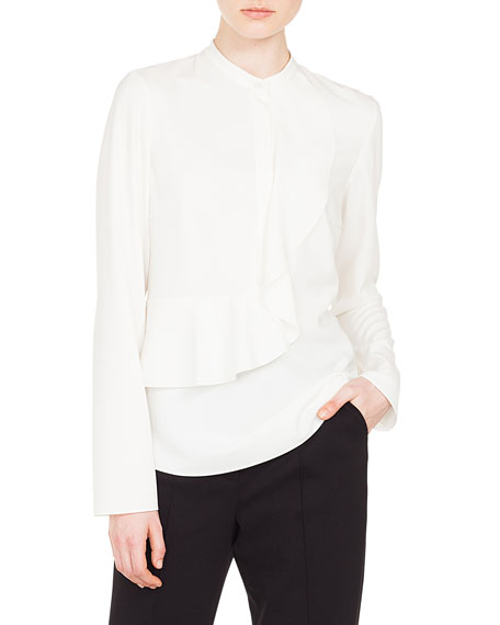 Akris punto Ruffled-Front Long-Sleeve Tech Blouse and Matching