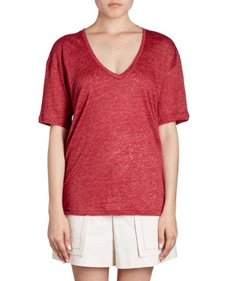 Maree V-Neck Short-Sleeve Linen T-Shirt