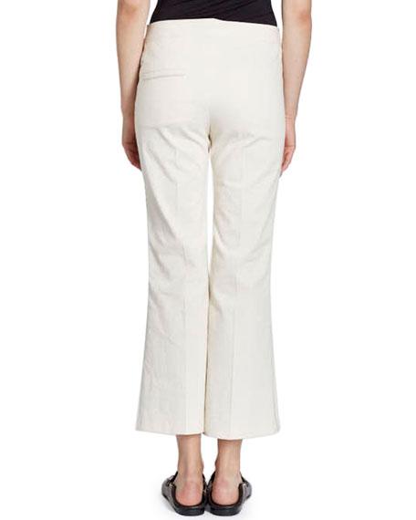 Lyre Flat-Front Flared Crop Cotton-Blend Pants