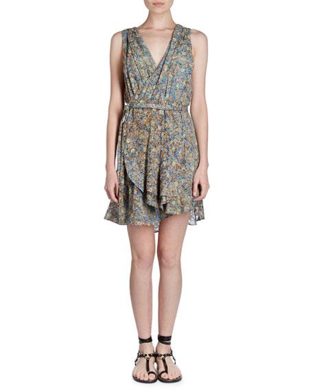 Fara V-Neck Sleeveless Floral-Burnout Side Wrap Dress
