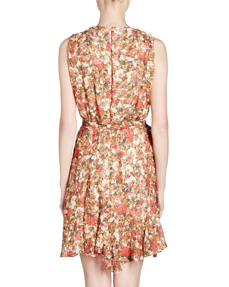 Fara V-Neck Sleeveless Floral-Burnout Side Wrap Dress