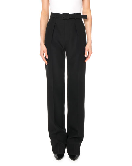 Givenchy High-Waist Straight-Leg Wool Trousers w/ Self-Belt