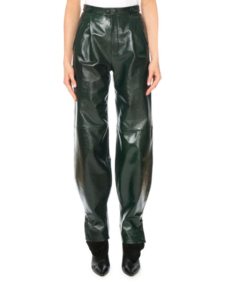 Givenchy High-Waist Snap-Cuff Lamb Leather Trousers