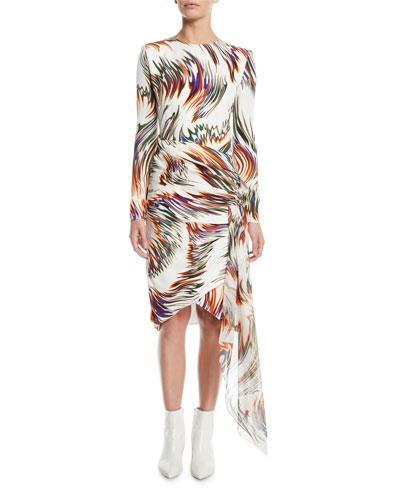 Wave-Print Asymmetric Long-Sleeve Dress