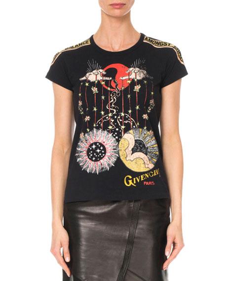 Givenchy Libra-Print Crewneck Cap-Sleeve Logo Cotton Jersey