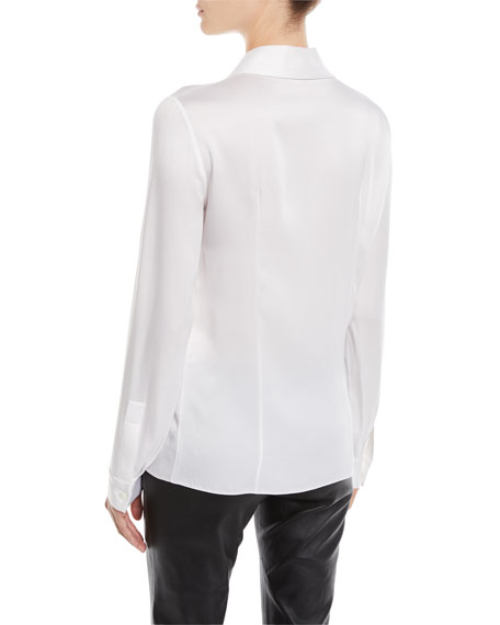 Long-Sleeve Button-Front Satin Charmeuse Classic Shirt