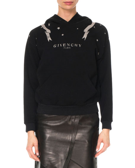 GIVENCHY Gemini-Print Long-Sleeve Cotton Hooded Sweatshirt in Black