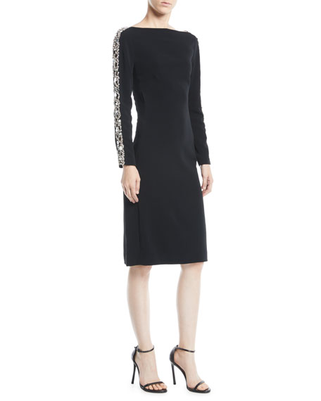 Astra Boat-Neck Beaded-Stripe Long-Sleeve Crepe Cocktail Dress
