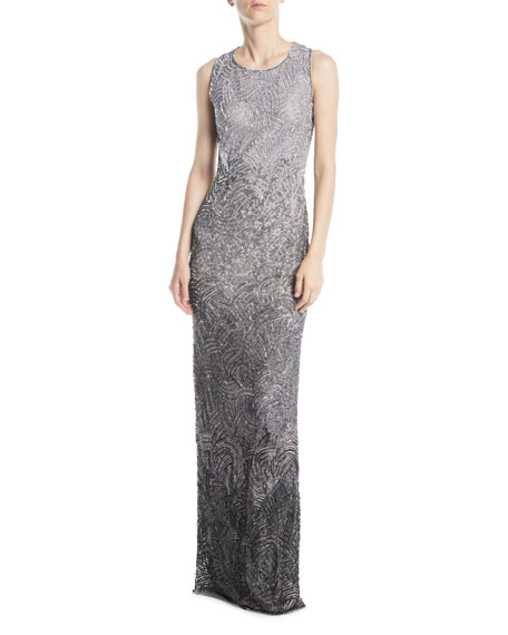 Alina Sleeveless Round-Neck Degradé Beaded Evening Gown