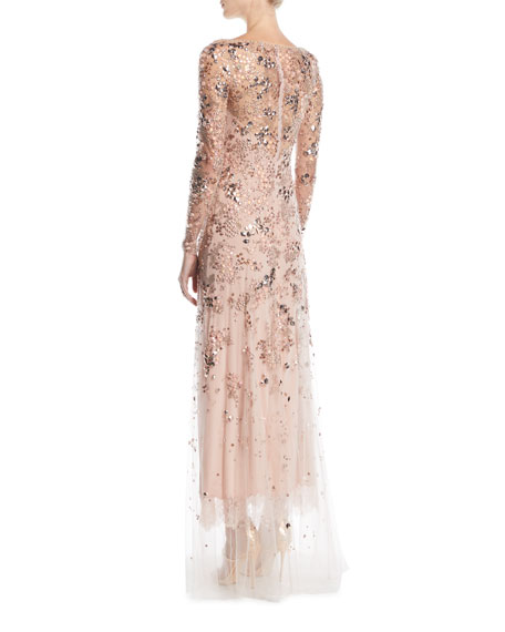 Comet Bateau-Neck Long-Sleeve Beaded Evening Gown w/ Lace Trim
