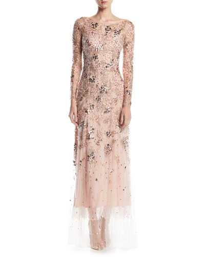 Comet Bateau-Neck Long-Sleeve Beaded Evening Gown w/ Lace Trim