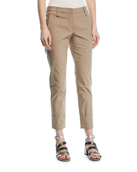 Brunello Cucinelli Straight-Leg Crop Barrel-Cuff Cotton Twill
